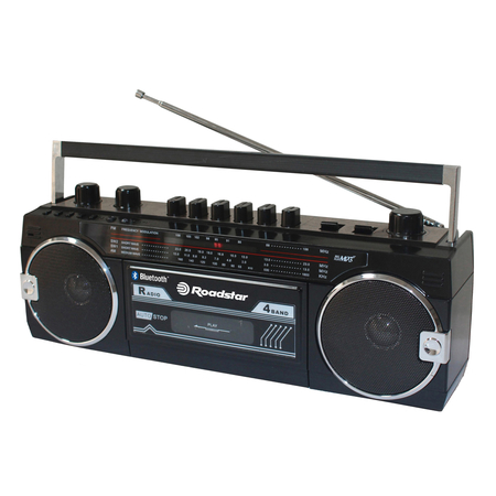 Roadstar RCR 3025 Retro Radio USB Ghettoblaster Bluetooth Zwart