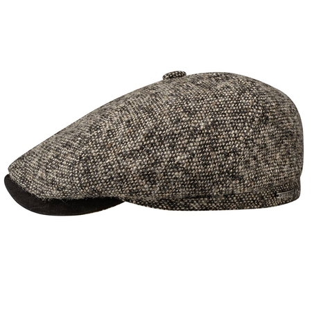 Stetson 6-Panel Brooklin Flat Cap Virgin Wool Goat Donkerbeige