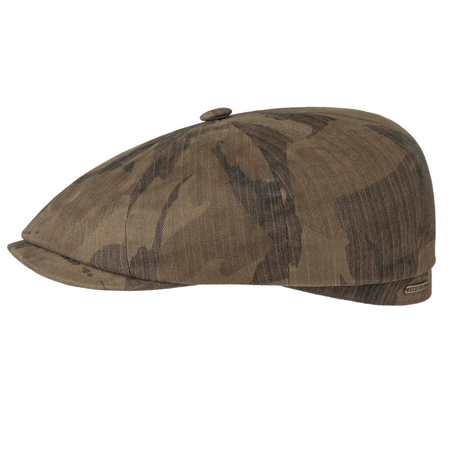 Stetson Hatteras Newsboy Cap Waxed Cotton Camouflage