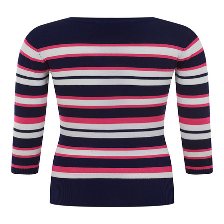 Bright and Beautiful Sydney Korte Mouw Trui Navy Roze