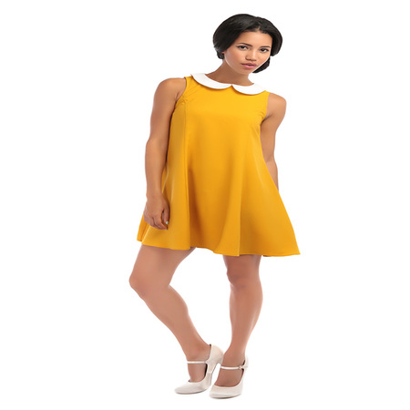 Bright and Beautiful Nia Plain Baby Doll Jurk Mosterd
